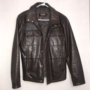 DANIER Rustic Brown Leather Zip Up Utility Jacket
